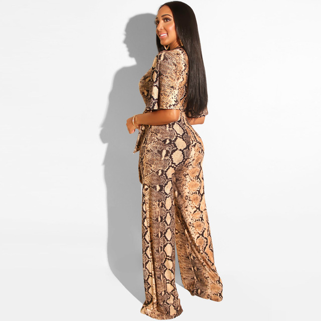 Sexy Snake Print Strapless Night Party Club Jumpsuit Women Summer Casual Deep V Neck Short Sleeve Rompers Female Overalls Outfit 2