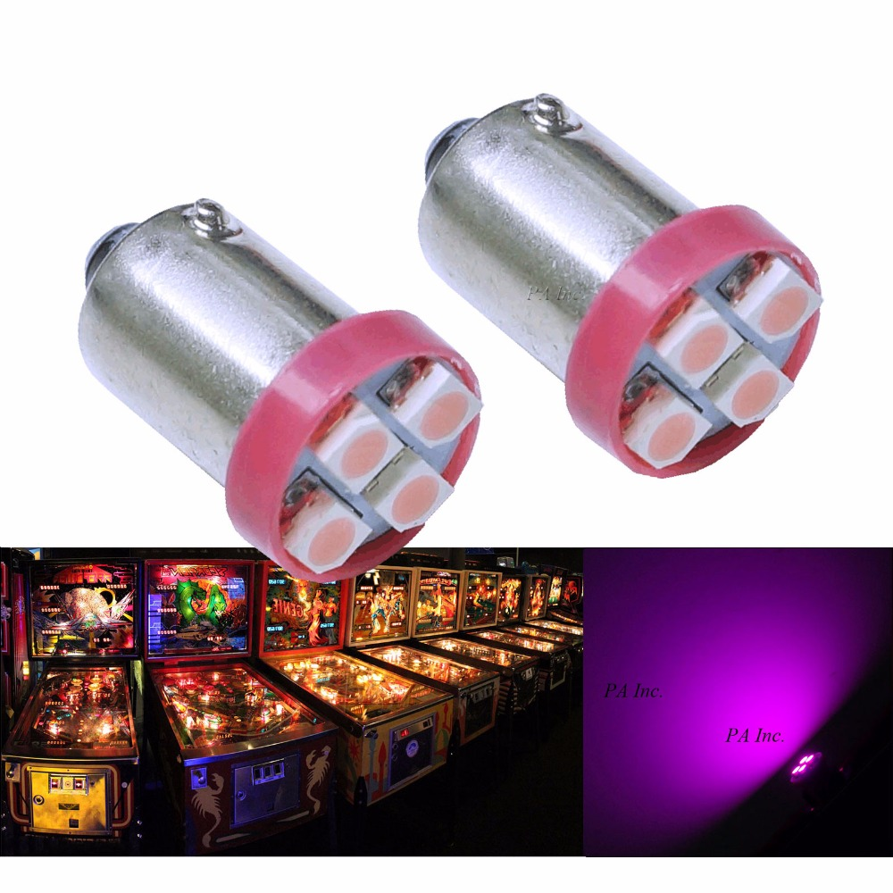 PA LED 30PCS x Auto Car Lamp Dashboard Light for Pinball Machine 4SMD 3528 6.3V BA9S White/Red/Green/Blue/Yellow/Purple/Pink uxcell 10 pcs ice blue 3020 smd led vehicles car dashboard dash light lamp internal