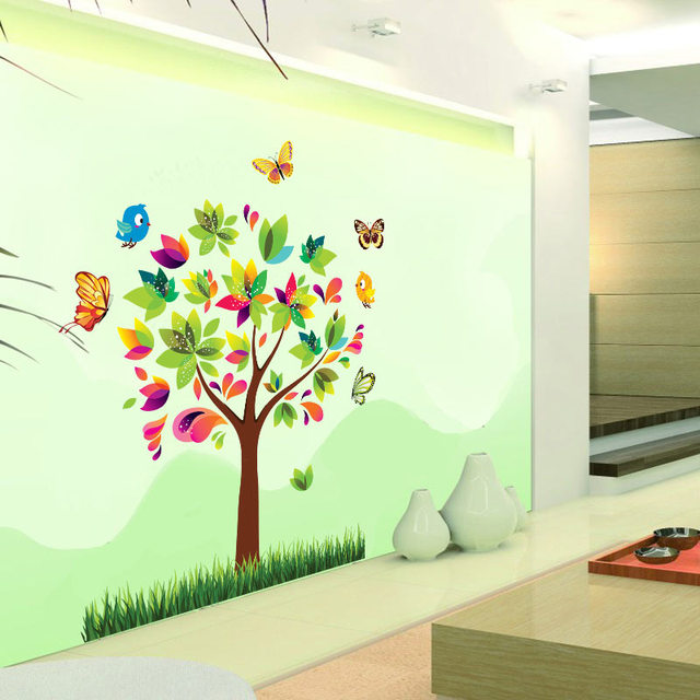 Birds Butterfly Tree Wall Decal Kids Room Wall Sticker Kindergarten  Decorations Zooyoo7114 Nursery Decors Removable Decals 50x70