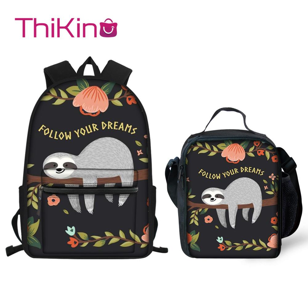 Thikin Sloth Animals Pattern Students School Bag  Teens Backpack Big Capacity Supplies Package Shoulder Women Mochila