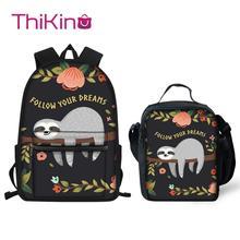 Thikin Sloth Animals Pattern Students School Bag  Teens Backpack Big Capacity Supplies Package Shoulder Women Mochila