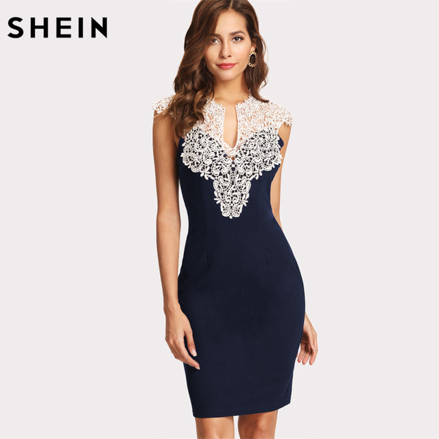 f57c567928 SHEIN Women Party Dress Navy Floral Lace Yoke Form Fitting Dress Contrast  Lace Color Block Sleeveless