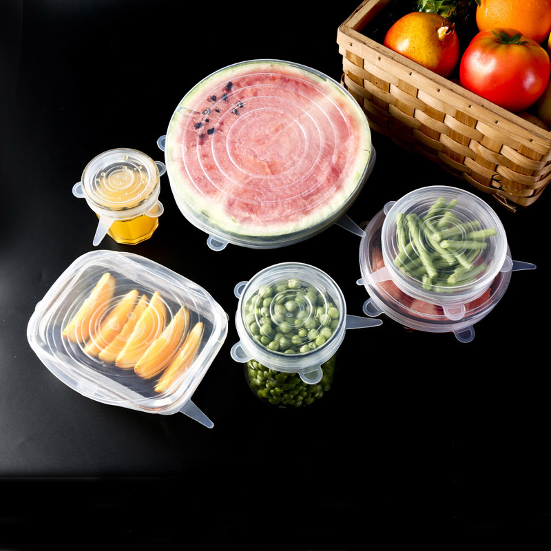 6 Pcs/ Set Universal Silicone Cover Fresh Keeping Silicone Stretch Lids Caps For Food Pot Dish Kitchen Accessories