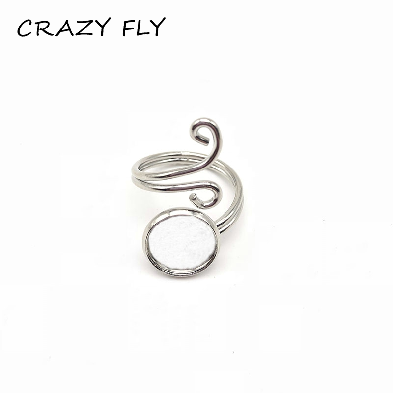 CRAZY FLY 1pc 12mm Ring Base Adjustable Ring Settings Wedding Rings  Round Type Base DIY Ring AccessoriesCRAZY FLY 1pc 12mm Ring Base Adjustable Ring Settings Wedding Rings  Round Type Base DIY Ring Accessories