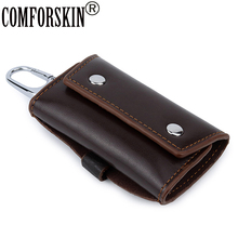 цены COMFORSKIN New Arrivals Real Leather Men Key Housekeepers Multi-function Key Wallet Cowhide Key Chain Wallet Card Holder 2018