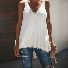 Fashion V Neck Lace Tank Top Plus Size 5XL 2019 Summer Blue White Women Sexy Tops plus size scoop neck aeolian bells tank top