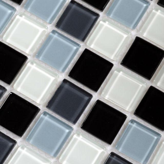 White and Black Glass Mosaic Tile for Decorative Kitchen Backsplash ...