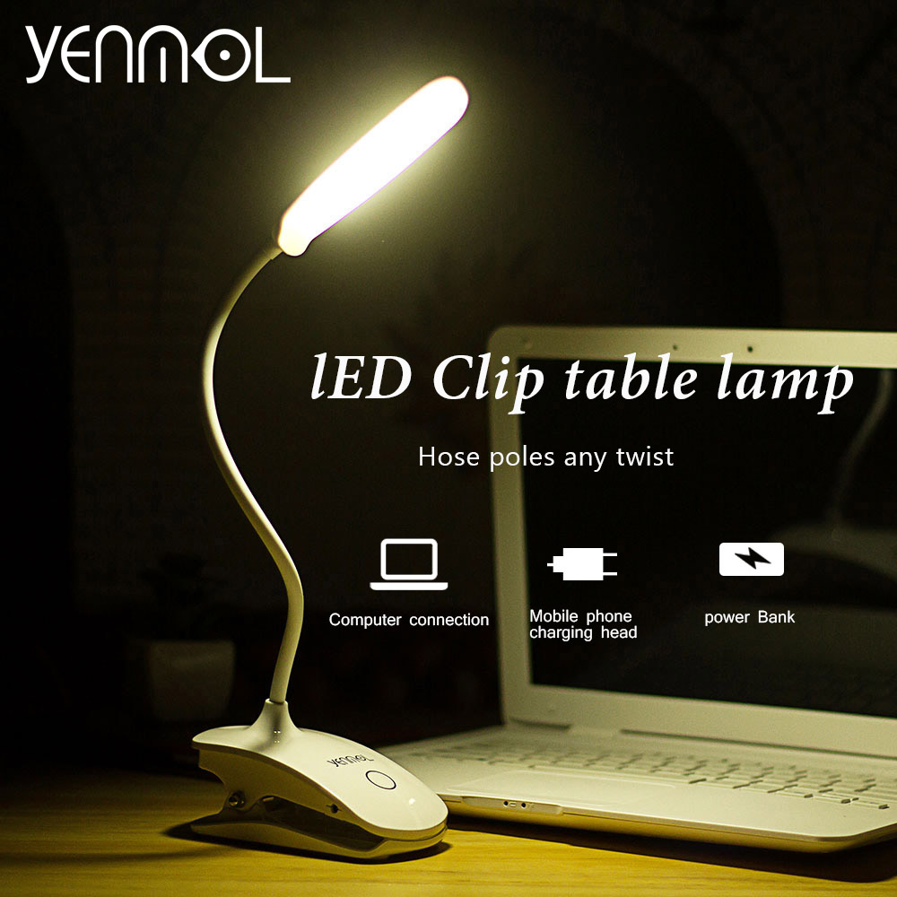 Yenmol Led Desk Lamps with Clamp For Reading Folding Clip USB Table Lamps for Living Room
