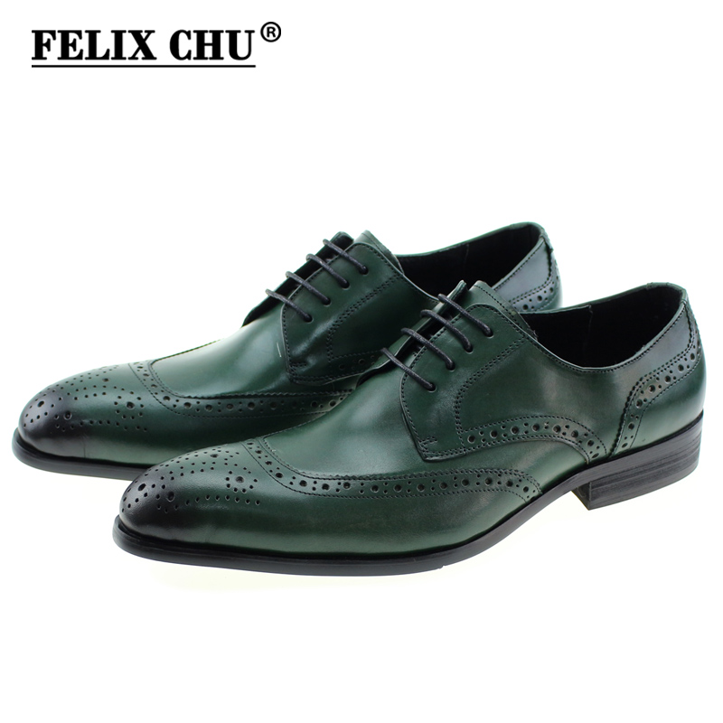 FELIX CHU 2017 Classic Men Casual Business Genuine Leather Derby Shoes Men's Flat Wedding Party Brogue Green Brown Male Footwear