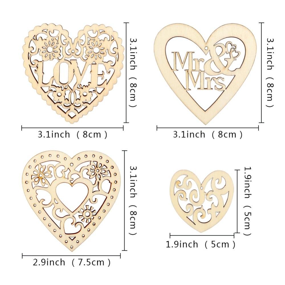 OurWarm 10 шт. любящее сердце деревянное Скрапбукинг свадьбы украшения DIY ремесла Висячие орнаменты украшение для свадьбы бракосочетания