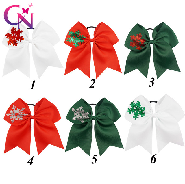 18 pcslot 7 solid ribbon christmas cheer bow with snowflake for kids children
