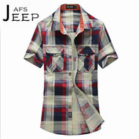 AFS JEEP Big Plaid Man S Slim Short Sleeve Shirt S To 4XL Plus Size Ventilate