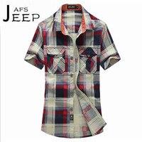 AFS JEEP Big Plaid Man S Slim Short Sleeve Shirt S To 4XL Plus Size Ventilate