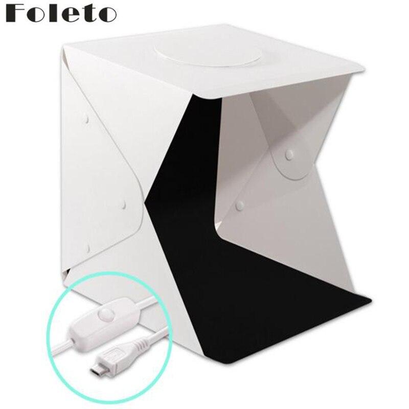 Foleto 40cm Mini Folding Softbox Studio Portable Photography Desktop LED Light Photo Soft Box Built in button Background Upgrade