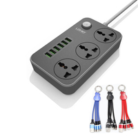 LDNIO SC3604 Smart 6USB Charger Adapter Charger Grounding Extension Power Socket EU/UK/US PLUG With 3in1 USB CABLE