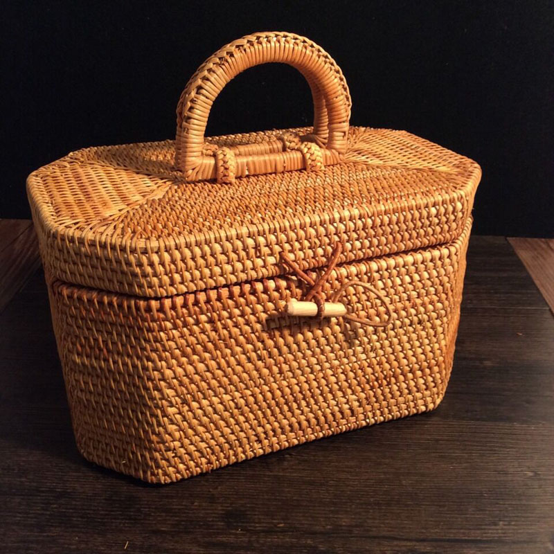 Vietnam Rotan Weave Octagon Portable teh timah Pu'er box tea dengan tudung Handicraft gift jewelry sundries storage makeup organizer