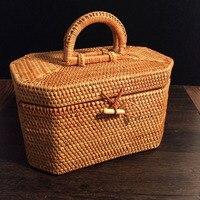 Wietnam Rattanowe Splot Octagon Przenośne herbata Pu'er herbaty cyny pudełko z pokrywką Rękodzieło prezent biżuteria rozmaitości przechowywania makijaż organizatorem
