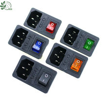 1 Pcs 10A Sekering! Rocker Switch Menyatu IEC320 C14 Inlet Power Socket Fuse Switch Konektor Plug Konektor Merah Hijau Biru Hitam 4 Pin(China)