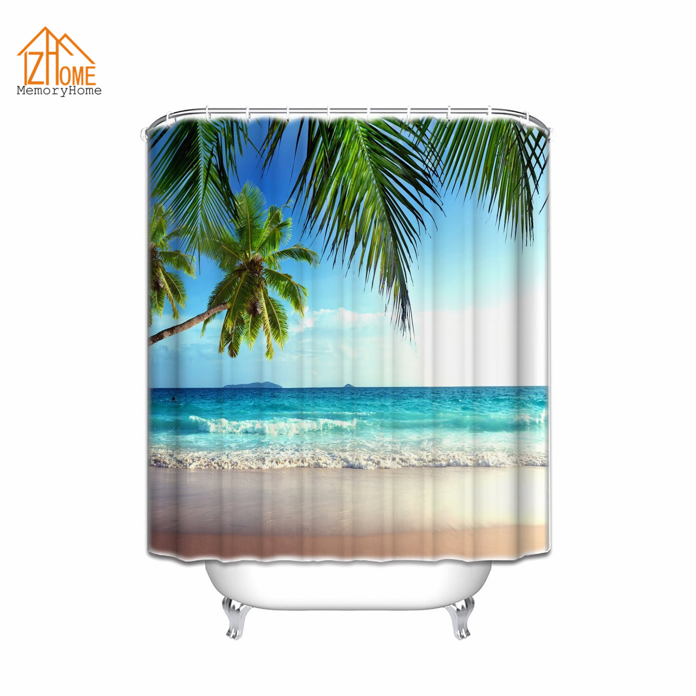Ocean shower curtains - Memory Home Customized Shower Curtain Palms Ocean Tropical Beach Waterproof Polyester Fabric Shower Curtain Bathroom Accessories