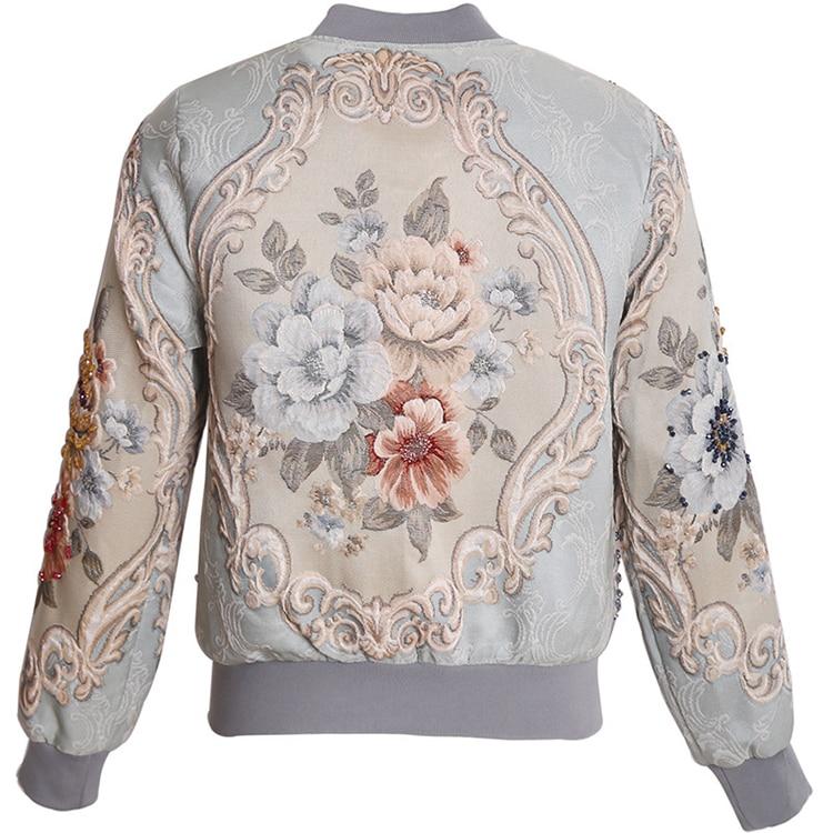 الأحمر RoosaRosee عالية الجودة مصمم أزياء سترة الخريف الشتاء النساء الأزهار طباعة الخرز أنيقة سترة قصيرة معطف أبلى-في السترات الأساسية من ملابس نسائية على  مجموعة 2