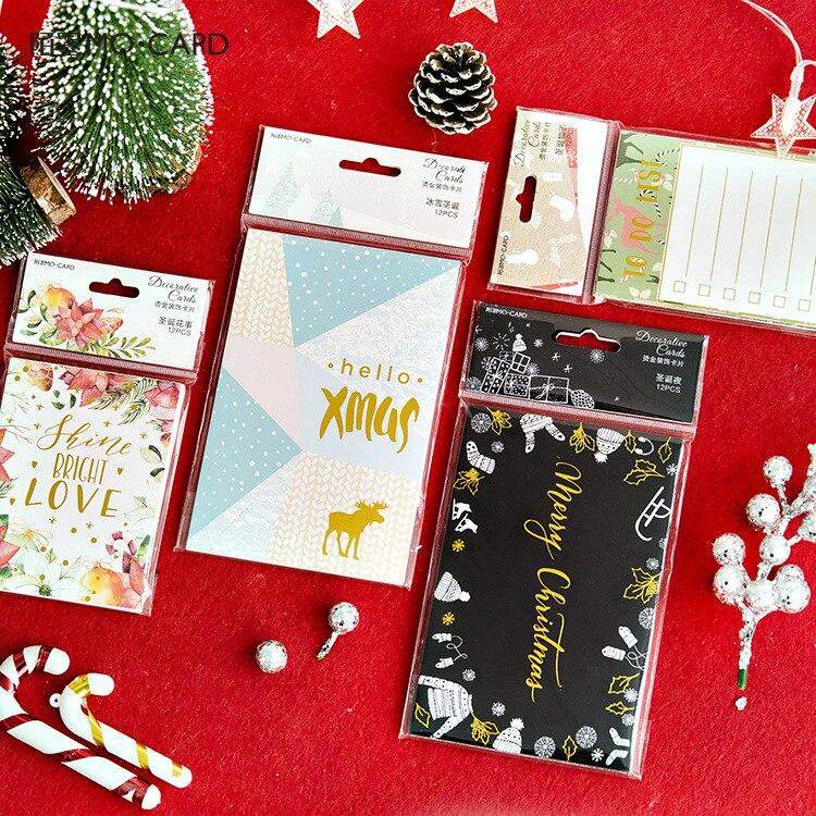 aliexpress com buy 12pcs bronzing merry christmas postcard greeting card bookmark