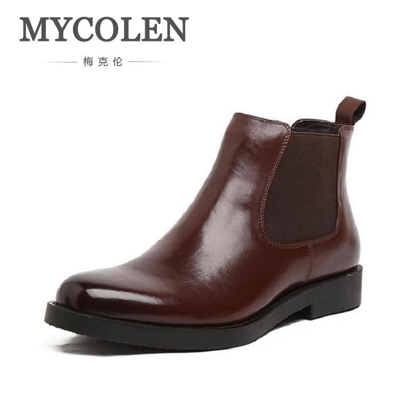 MYCOLEN Men Ankle Boots Casual Genuine Leather Footwear Winter Shoes Men Boots New Business Brown Men Shoes Bota Masculina Couro
