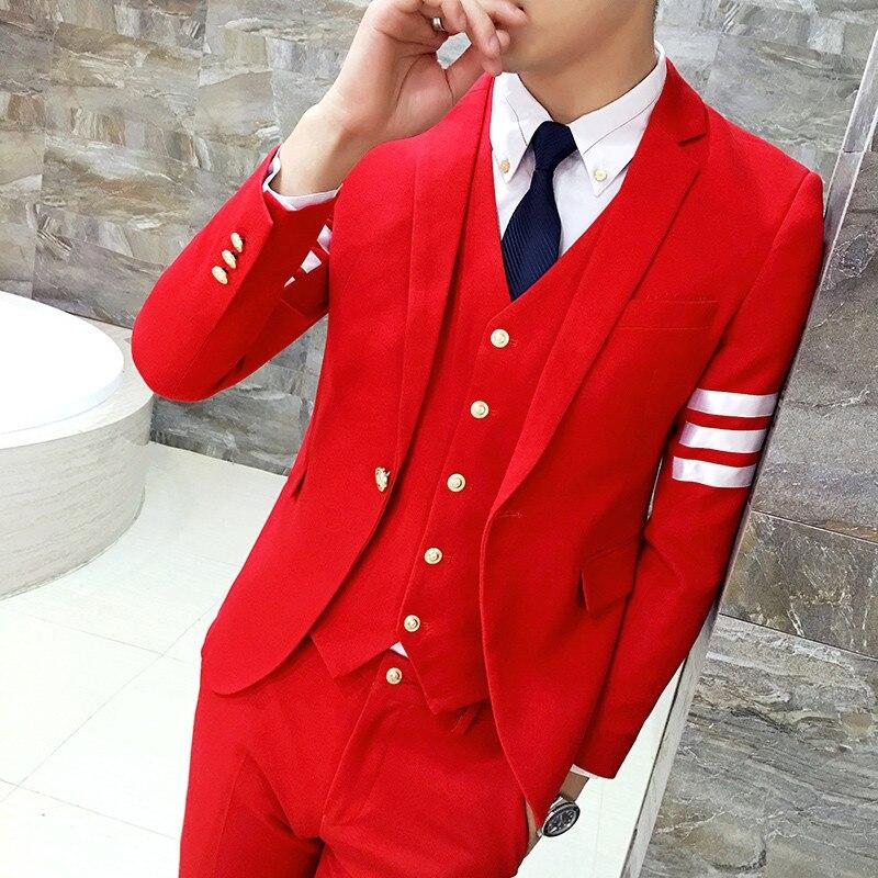 (jacket+pants+vest)Fashion male singer han edition men suit spring casual suit fit groom...