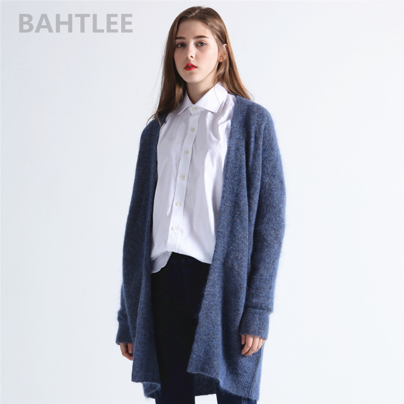 BAHTLEE spring autumn Women's Mohair wool knitted Cardigan sweater Long Sleeves V-neck pockets