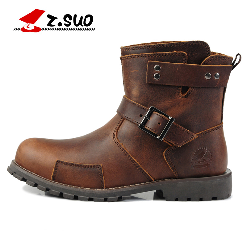 Z.SUO New England Martin Boots Genuine Leather Men Boots 2018 New Arrival Autumn Ankle Boots Winter Men's Casual Boots D50 2017 new england martin boots leather men boots 2017 new arrival autumn ankle boots winter men s casual lace up boots shoes