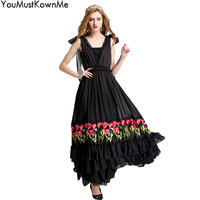 YouMustKnowMe women sexy v neck strap elegant party maxi dress ruffle floral embroidered a line long dress vestidos for evening