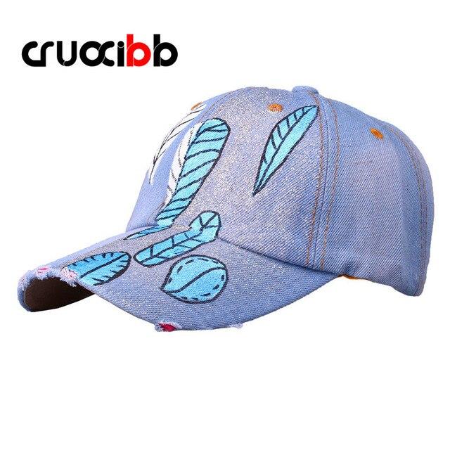 CRUOXIBB New Arrivals Shiny Baseball Caps Women Unisex Feather Painting Jean Hats Denim Cap Fashion Punk Causual Bone