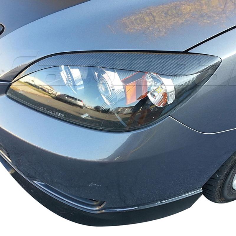 For Mazda 3 Hatchback Carbon Fiber Car Headlight Eyebrow Eyelid Cover Trim 2006-2013