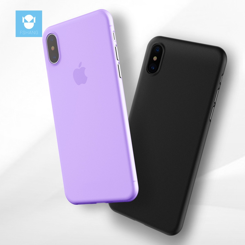FSHANG Original Phone Case for iPhone X Ultra Thin Matte Cute Colors Cases for Apple iphone X Fashion Soft black Back Cover Case
