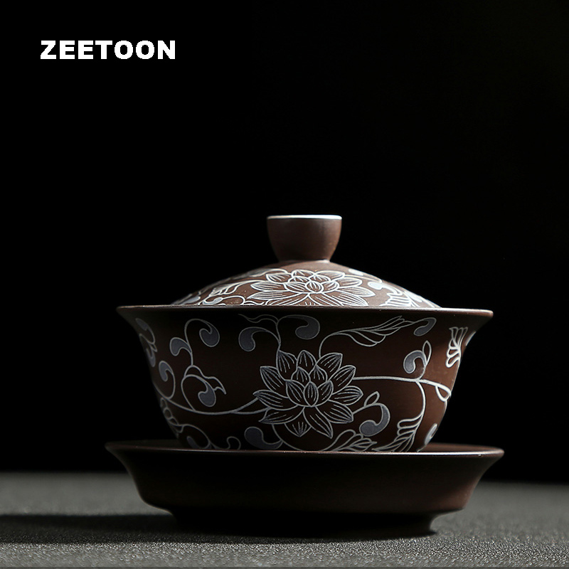 140ml Authentic Yixing Gaiwan Vintage Hand Painted Peony Purple Clay Kung Fu Tea Set Tea Cup Tea Bowl Master Cups Teapot Tureen