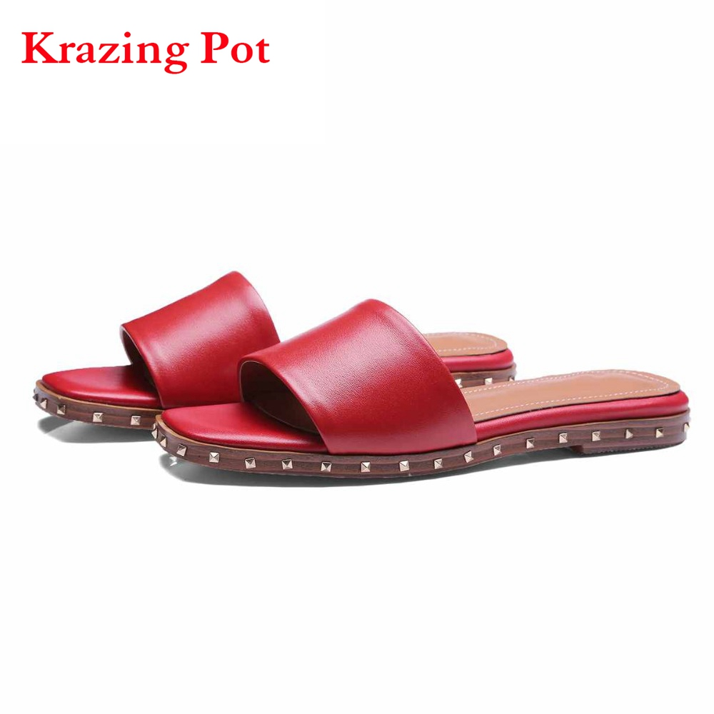 2017 Fashion Genuine Leather Superstar Slip on Brand Shoes Women Sandals Rivets Gradiator Peep Toe Low Heels Summer Red Shoes L
