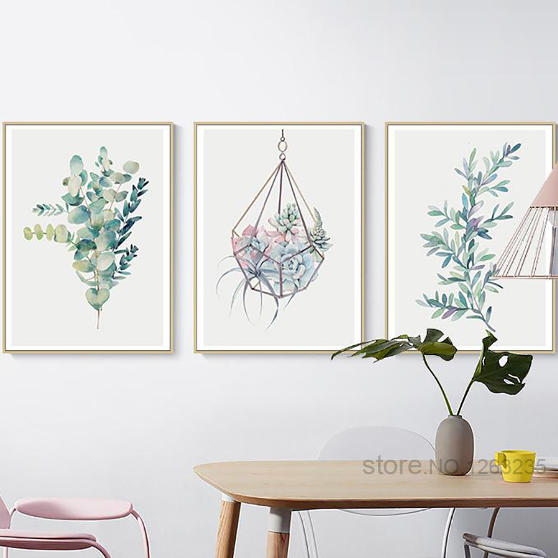 Succulent Plants Nordic Poster Leaf Flower Wall Art Posters And Prints Canvas Painting Cactus Print Cuadros Affiche Unframed прихватка bonita узоры диаметр 20 см