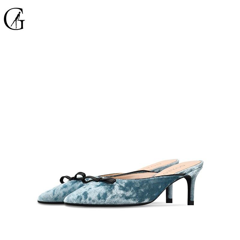 GOXEOU2019 nuevos zapatos de lana de primavera y verano de gamuza moño zapatillas baotou zapatos de tacón plano semitamaño 34 46 envío Gratis-in Zapatillas from zapatos    1