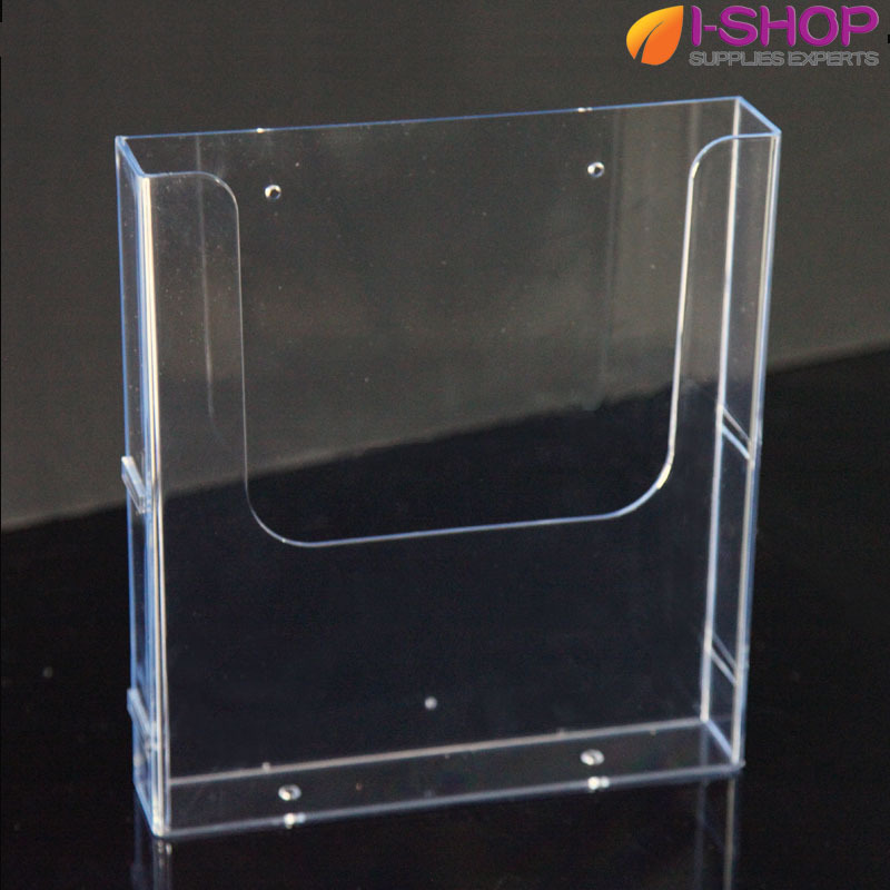 A4 acrylic counter top wallmount brochure holder magazine for Plastic flyer stand