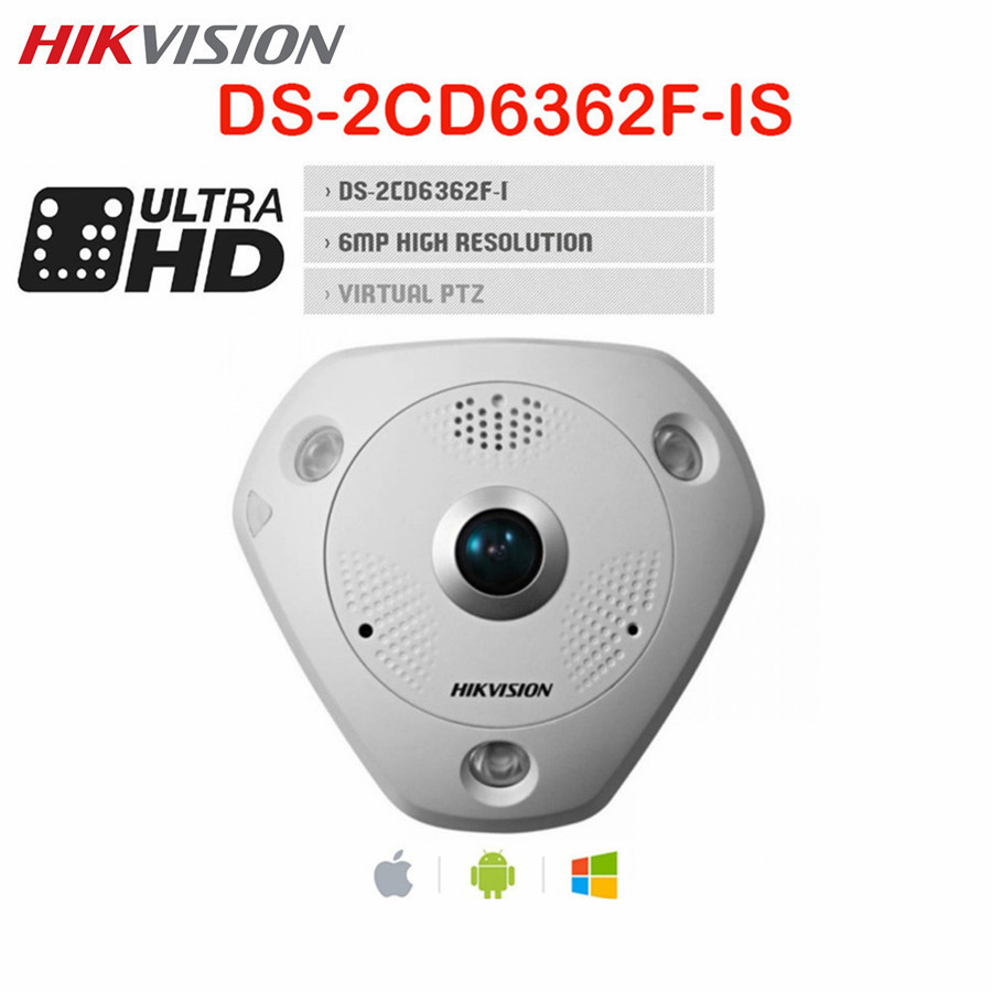 Hikvision Fisheye PTZ PoE CCTV Camera 6MP DS 2CD6362F IS CMOS Day Night Audio 360 degree