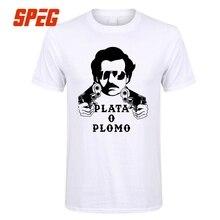 Camisas para hombres T Plata o Plomo Pablo Escobar hombre relajado Tee  camisa 2017 de los c95be19db55