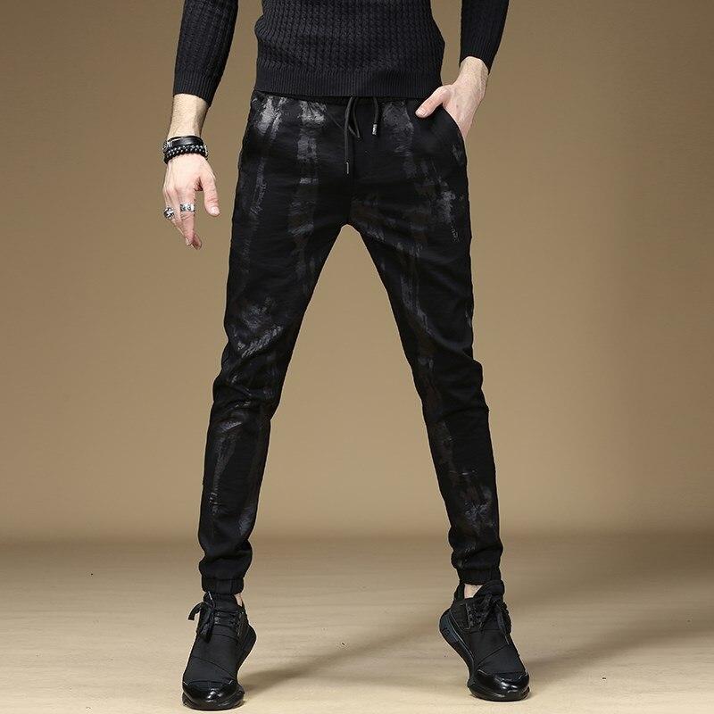 Free Shipping New Summer Thin Black Man Pants Korean Self-cultivation Harlan Beam Men's Male Skinny Elastic Trousers Sweatpants