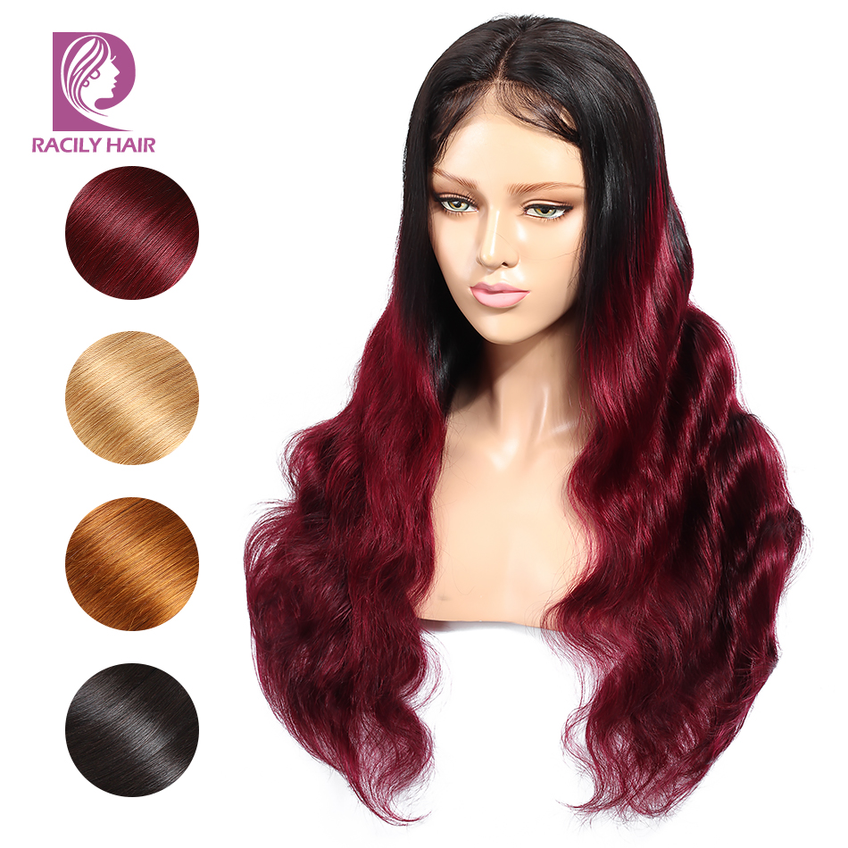 Racily Hair Glueless Colored Brazilian Body Wave Hair Wig Ombre Blonde Lace Front Human Hair Wigs