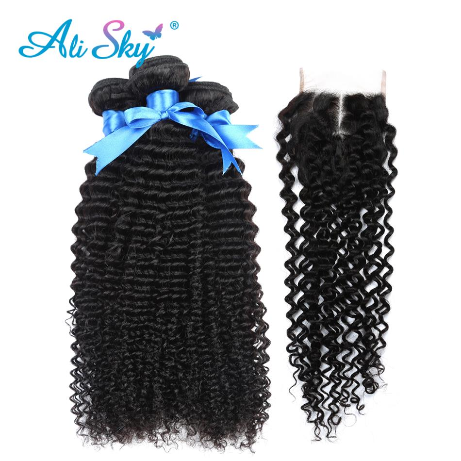 Peruvian Afo Kinky Curly Hair 3 Bundles With Lace Closure 100% Human Hair Bundles With Closure No Tangle Non Remy Ali Sky Hair