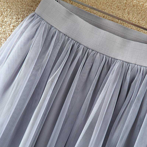 Image 5 - TIGENA Tulle Skirts Womens 2020 Summer Long Maxi Skirt Female Elastic High Waist Pleated Tutu Skirt Sun Black Gray White