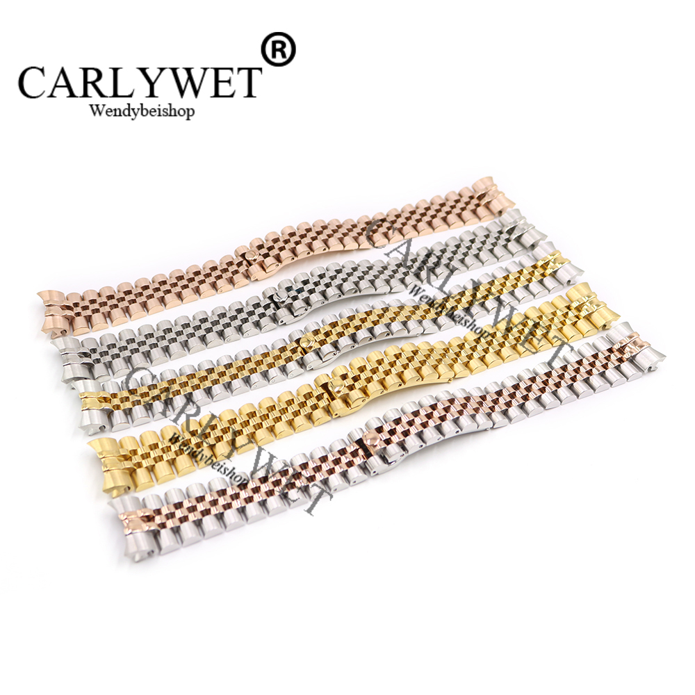 CARLYWET 20mm Silver Two Tone Rose Gold Wrist Watch Strap Bracelet Solid Screw Links Curved End For Datejust President carlywet 22 24mm silver solid screw links replaceme 316l stainless steel wrist watch band bracelet strap with double push clasp