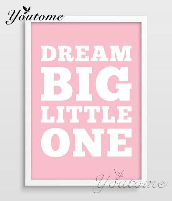 Best Dream Big Little One Nursery Poster Typographic Print with Quote  EH16