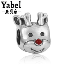 High Quality 1Pc Silver Plated Large Hole European Cut Fallow Deer Charms Bead Fit DIY Charms Jewelry Beads Free Shipping(China)