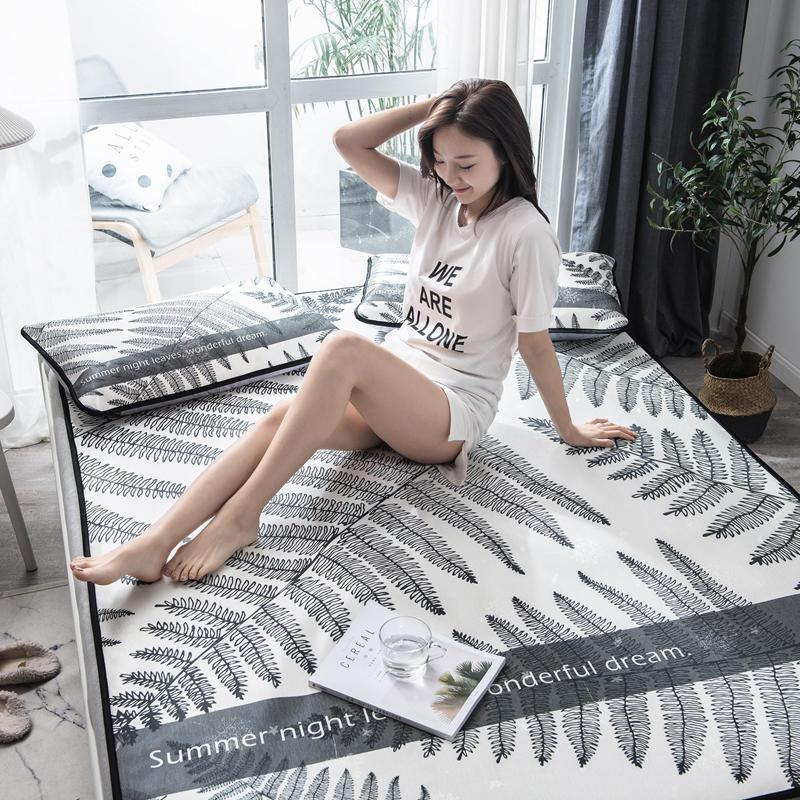 Summer Ice Cool Mat Bedding Set Brief Leaf Pattern 3pcs Flat Bed Sheet Pillowcase Set Home