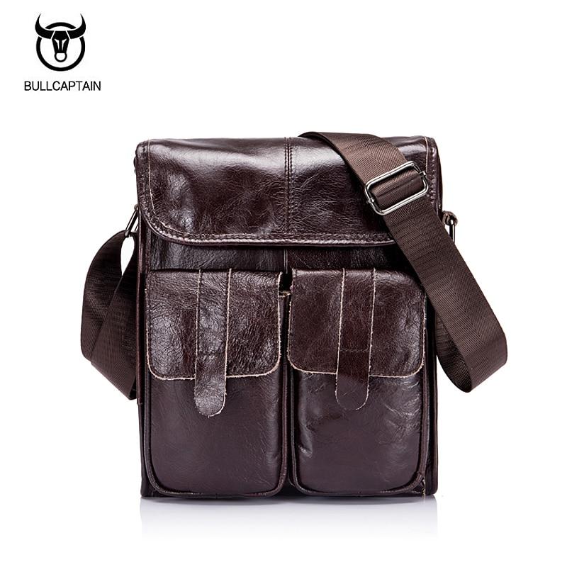 BULLCAPTAIN 2018 из натуральной кожи в стиле ретро сумка мужчины Crossbody сумки небольшой известных Брендовая дизайнерская обувь мужской Курьерские с...