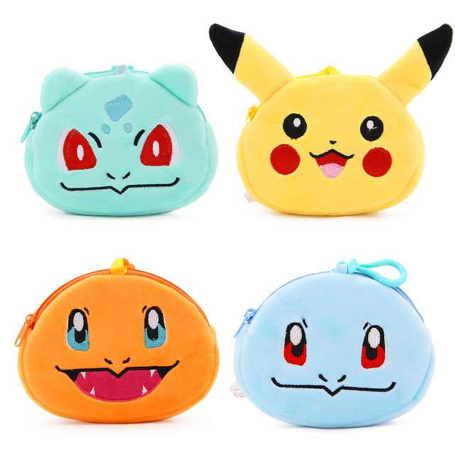 New Cute Plush Coin Purse Cartoon Pikachu Squirtle Charmander Bulbasaur Kids  Money Bag Baby Boys Girls Mini Wallets Lovely Toys